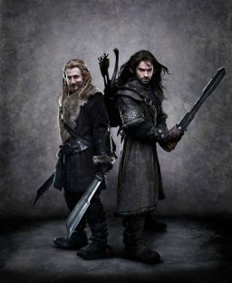 Fili and Kili, two of the twelve dwarves.